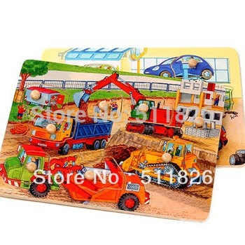 Vivid funny wooden car repairing/construction plant jigsaw puzzle Free shipping