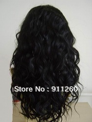 Free Shipping! 18&quot;,#1,Wet And Wavy,Indian Human Hair, Glueless Full Lace Wig, In Stock(China (Mainland))