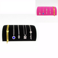 Wholesale 2 High Quality Pink Velvet Half Moon Jewellery Watch Bracelet Necklace Display Stand Holder