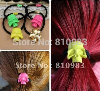 New neon colour skull punk elastic hair bands goody hair accessories free shipping