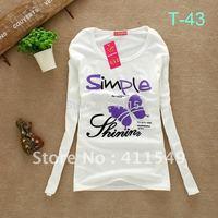 wholesale Free shipping Women new fashion 95% Cotton O-neck   long  sleeve T-shirt Slim Tops outerwear t shirt