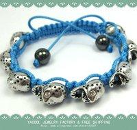 hot sale 2012 newest skull bracelets,shamballa bracelet, light blue color>$10 ,Free Shipping, High Quality  Cheap Price,
