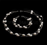 Free shipping!!!Natural Cultured Freshwater Pearl Jewelry Sets,Womens Jewelry, bracelet & necklace, brass spring ring clasp