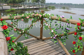 Artificial vine Silk rose flowers Cane for home  decor climbing cane 20pcs/lot in free shipping
