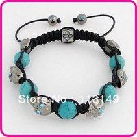 Free Shipping Fashion Blue Rhodium Plated Skeleton Braided Shamballa Skull Bracelets Wrap Turquoise Beads Crystal Eyes SSBA35-2