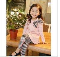 retail  baby suit costume children clothing set  t-shirt+ pants  kids girls wear 2pcs sets bowknot