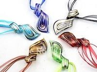 Hot sale 6pcs wholesale lots mix color fashion gold dust waterdrop Art Lampwork murano glass pendant necklace jewelry