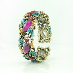 Colorful Crystal and Enamel Bracelets mixed colors free shipping(China (Mainland))