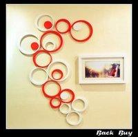 Free Shipping wall sticker art circle shape 3D wooden wall sticker Home decor wall decor 5pcs/set,2sets/lot, BB144