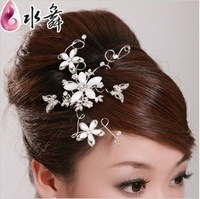 Free Shipping! Silver Three flower Bridal hair pin wedding Hair accessory  Hair Flower TH033
