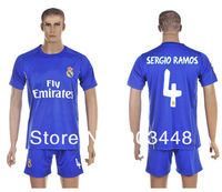 2013 2014 Real Madrid #4 Sergio Ramos jerseys away blue club football kits thaliand quality 100% embroidery soccer star uniform