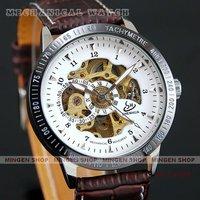 MINGEN SHOP - Retro Racer Automatic White Skeleton Mechanical PU Leather Men watch White + Brown U0014