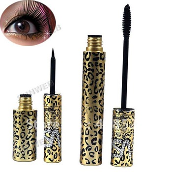 2 Magic Leopard Lashes Fiber Mascara Brush Eye Black Long Makeup Eyeliner free shipping 4432