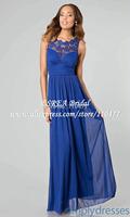 High Quality O Neck  Blue Lace Evening Dresses Gown Elegant FE037 Vestidos de Fiesta