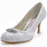 Free Shipping  Elegant 2013 EP2036 Round Toe Rhinestone Spool High Heel Lace Shoes for Women Wedding Pumps
