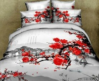 Chinese ink painting 3d bedding sets queen size 4pcs Red Plum Flowers comforter/duvet cover bed sheet bedclothes set cotton