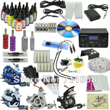 Go Pro Deluxe Tattoo Kit  Tz-00002  piercing  kit permanent makeup  (Motor,14 Color 15ml Inks)