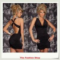FREE SHIPPING 2014 New Sexy Women Summer Backless Mini Casual Dress Size M YBF083 Black