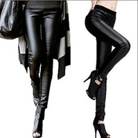 In stock new 2013 autumn winter pants women leather patchwork warm elastic big size pants fashion design sport leggings trousers