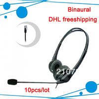 Professional Communication Binaural call center headset  direct with RJ11 plug 10pcs/lot free shipping