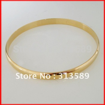 "MIN ORDER10$/FREE SHIPPING/ NEW GREAT 18K YELLOW GOLD GP GEP OVERLAY FILL BRASS SMOOTH PLAIN 2.8"" 6MM BANGLE/GREAT GIFT/"