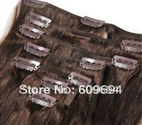 """18"""" 20"""" 22"""" 4# 180g/set Indian Remy Human Hair Clip in Hair Extensions dark brown wholesale4"""