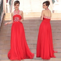 DorisQueen Free Shipping Halter Embroidery Open Back Wedding Party A-line Red Zuhair Murad Evening Dresses 2014 30623