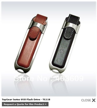 Free Shipping PU Leather Mental USB 2.0 Flash Memory Pen Drive Stick 8GB 16GB 32GB 64GB