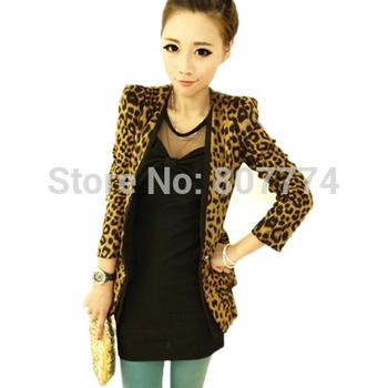 S-XXL! Freeshiping 2015 Vintage Autumn Women Plus Large Leopard Slim One Button Blazer Shoulder Pad Suede Outwear #3006