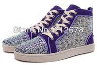 2014 unisex hot selling fashion purple patchwork sivler crystal heudauo, red sole high-top casual lace-up sneakers shoes