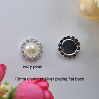 (S0006) free shipping,small embellishment 100pcs/lot,13mm diameter  rhinestone pearl embellishment,ivory or pure white pearl