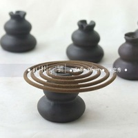 Pottery clay gourd incense holder. H 3.3cm, portable size for incense stick,coil.