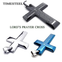 TSN076060-62 Fashion Men Lord's Prayer Cross Necklace in 316L Stainless Steel