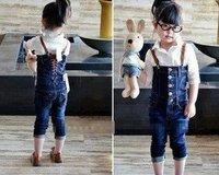 Korean tidal girl  denim overalls + long lace shirt