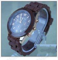 2012 New Style Geneva Crystal Classic Quartz Silicone Band Wrist Watch 10 Colors Geneva silicone watch  freeshipping