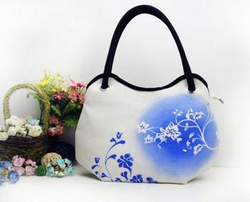 2014 new women trend porcelain canvas flowers printing shoulder tote bag hobos diaper bag handbag LF06699b