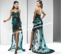 Strapless Lace Short Front Long Back Evening Prom Dress Green And Black GW644
