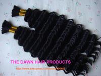 "2Pieces/Lot Color 1# Length 14""-18"" Mixed (50% Human Hair&50% Heat Resistant Fiber) New Deep Curl Hair Bulk"