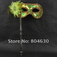 on sale gold fabric coated flower party mask on stick Venetian masquerade Halloween cosplay costume fancy dress opera eye mask