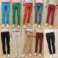 10 Colors 2012 new arrival korean fashion skinny jeans men slim fit leggings denim pants stretchy trousers Free shipping  k100