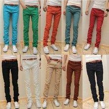 10 Colors 2012 new arrival korean fashion skinny jeans men slim fit leggings denim pants stretchy trousers Free shipping  k100(China (Mainland))