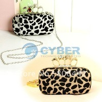 Fashion Punk Skull Ring Sexy Leopard Print Shoulder Clutch Evening Bag Handbag with Sequin Metal Chain