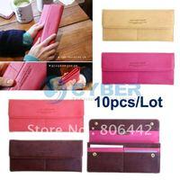 10pcs/Lot 4 Colors Women Fashion Stylish Button Long Checkbook Purse Clutch Wallet Bags