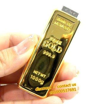 FREE SHIPPING retail genuine capacity 1G 2G 4G 8G 16G 32G gold bar shape usb flash drive