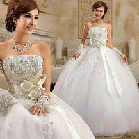 2014 Good quality princess wedding dress with sweet bow and rhinestones; Aiweiyi