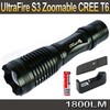 UltraFire 12W 1800 Lm CREE XM-L T6 Focus Adjust Zoom Led mini Flashlight Torch(2*18650 Battery + Charger +Holster )