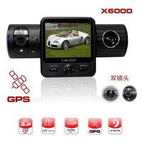 Carcam 5.0 Mega 1080p-720p Car DVR X6000 with Dual Lens+G-Sensor+GPS+IR Light Free Shipping