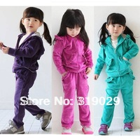 Autumn Fashion Girls suits Casual clothes Velvet Set Hoodie 2pcs set 3 colors Tracksuit Sport suit Children cloth