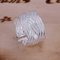 Free Shipping 925 Sterling Silver Ring Fine Fashion Big Net Weaving Silver Jewelry Ring Women&Men Gift Finger Rings SMTR024