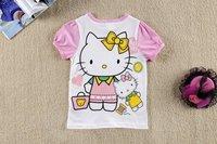 girls t-shirt kids cartoon hello kitty t shirt,100%cotton Short sleeve tops for girls,6pcs/lot mix 6size free shipping